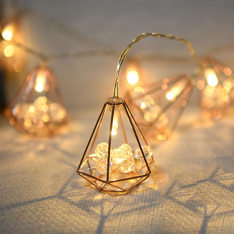 20Led Fairy Diamond With Rose Acrylic Battery Power String Lights Luminaria 3m LED Decor For Christmas Garland Wedding Gerlyanda