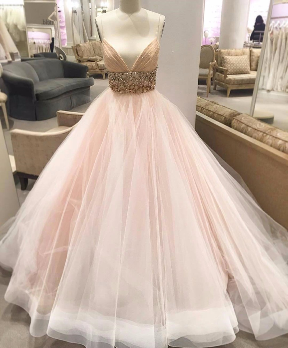 blush tulle wedding dress Hayley Paige Leah Floral Sequin V Neck Tulle Ballgown In Stores Only Nordstrom