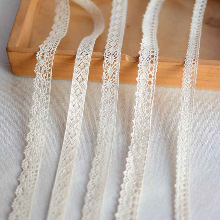 1M Beige Lace Fabric High Quality Lace Ribbon Trim Trimmings For Sewing Accessories tissu dentelle encajes para costura L-54
