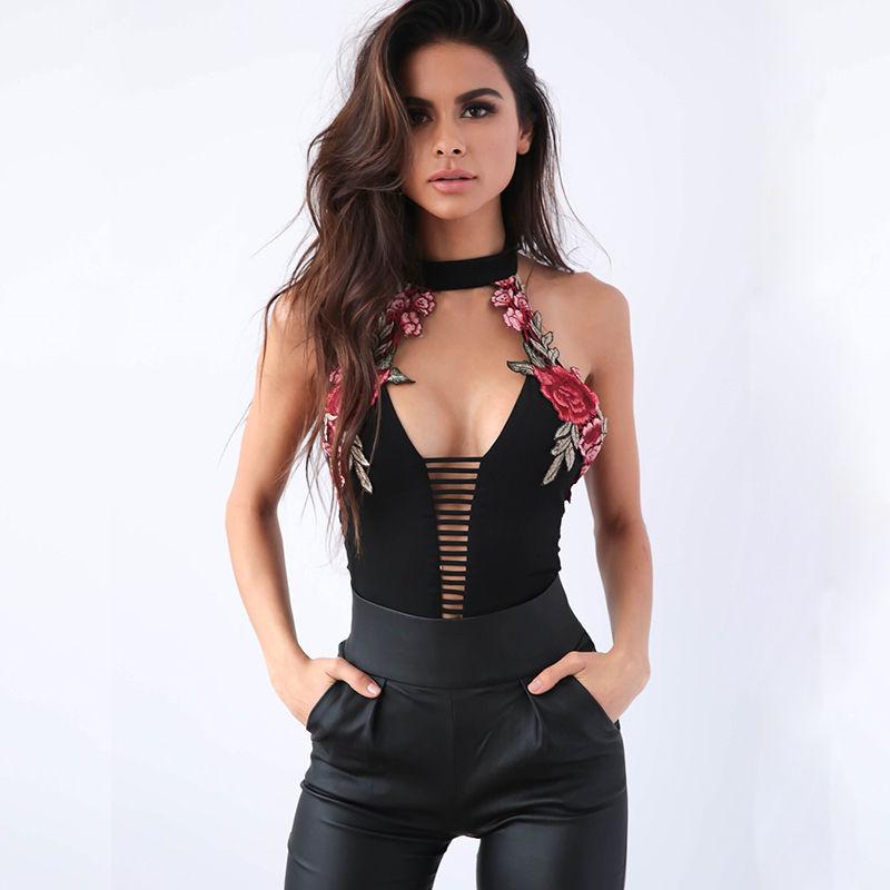2017 Women Backless Sexy Bodysuit Summer Floral Leotard Bodycon Bodysuits Floral Romper Bandage Fashion Bodysuit