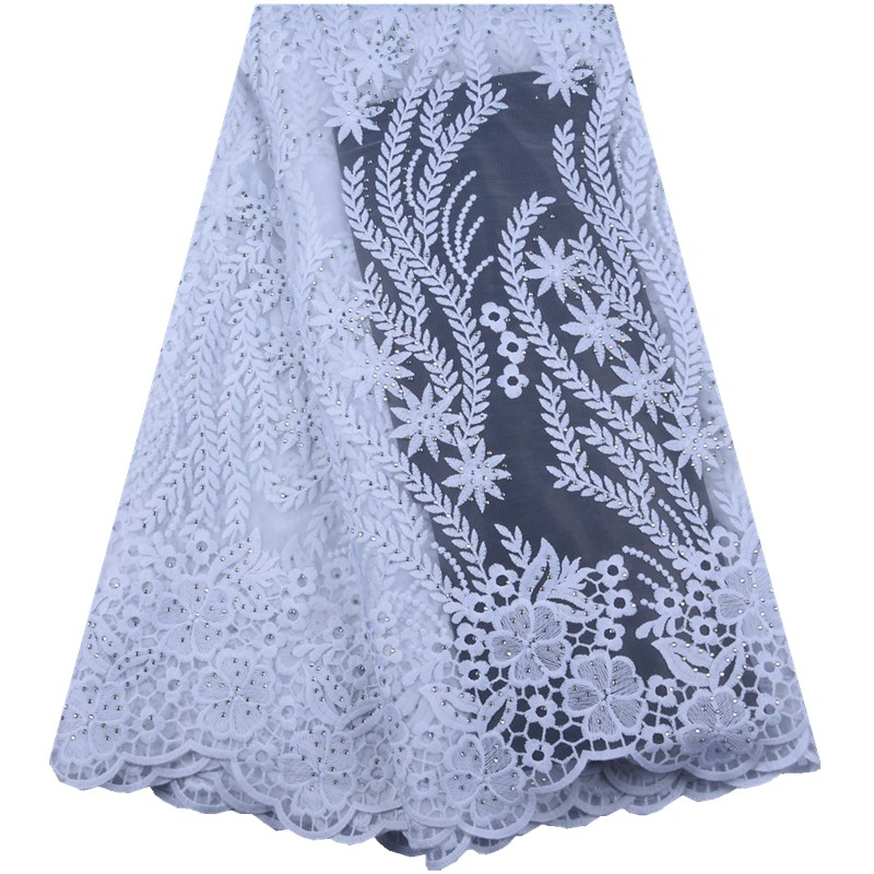 Pure White African Lace Fabric 2019 High Quality French Tulle Lace Appliqued Nigerian Net Lace For
