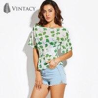 Vintacy Women Green Summer T Shirt Chiffon Slim Crop Tops 2017 Print Slash Neck Party Women