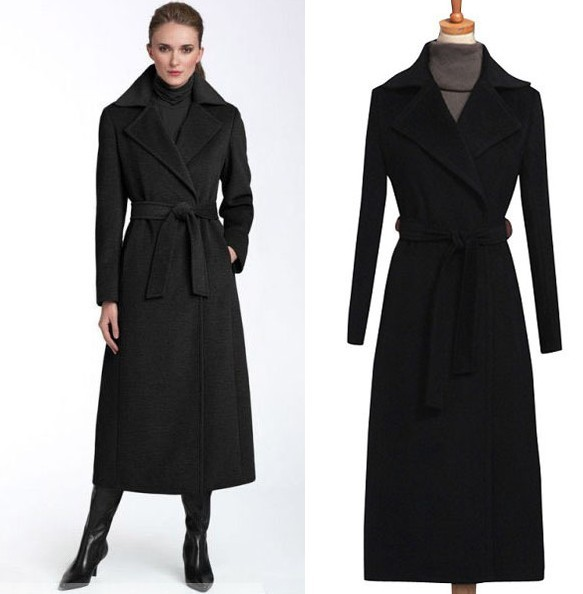 500997d0f43 2017 New fashion black wool coat women s long wool trench coat plus size  autumn winter jacket warm outwear woolen trench jacket