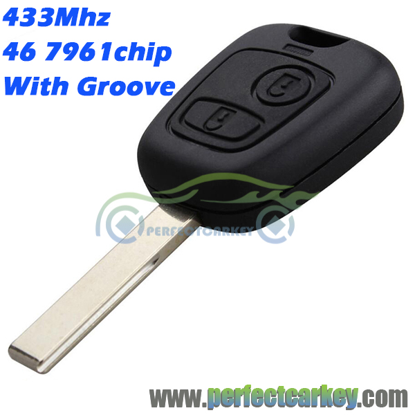 Prix pour 433 Mhz 2 bouton 46 7961 puce HU83 avec Rainure de voiture télécommande auto à distance tête de la clé Pour Peugeot 307