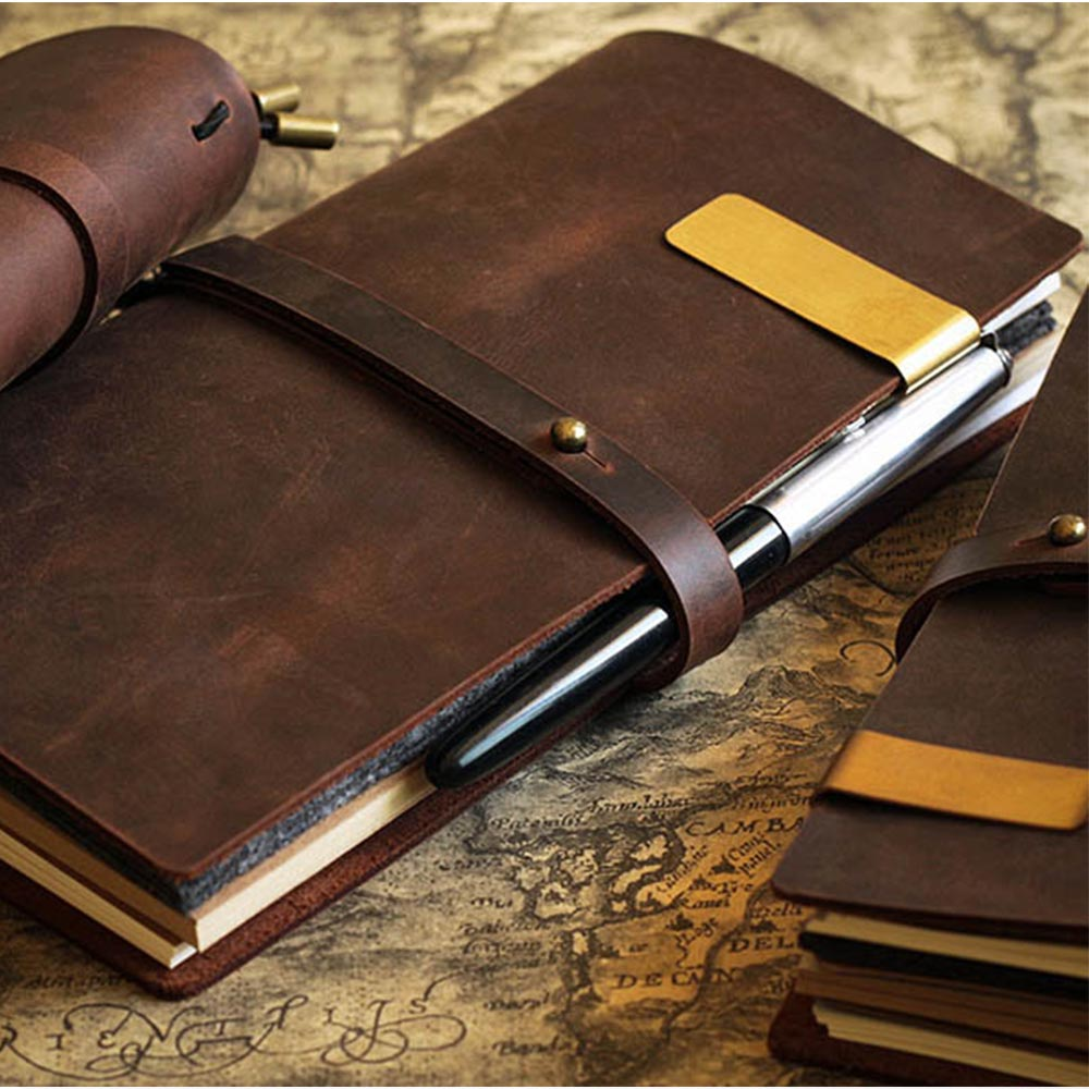 Junetree Handmade Cowhide Vintage Notebook Journal Blank Leather Cover Diary Genuine Leather  Travel Diary Sketchbook Planner