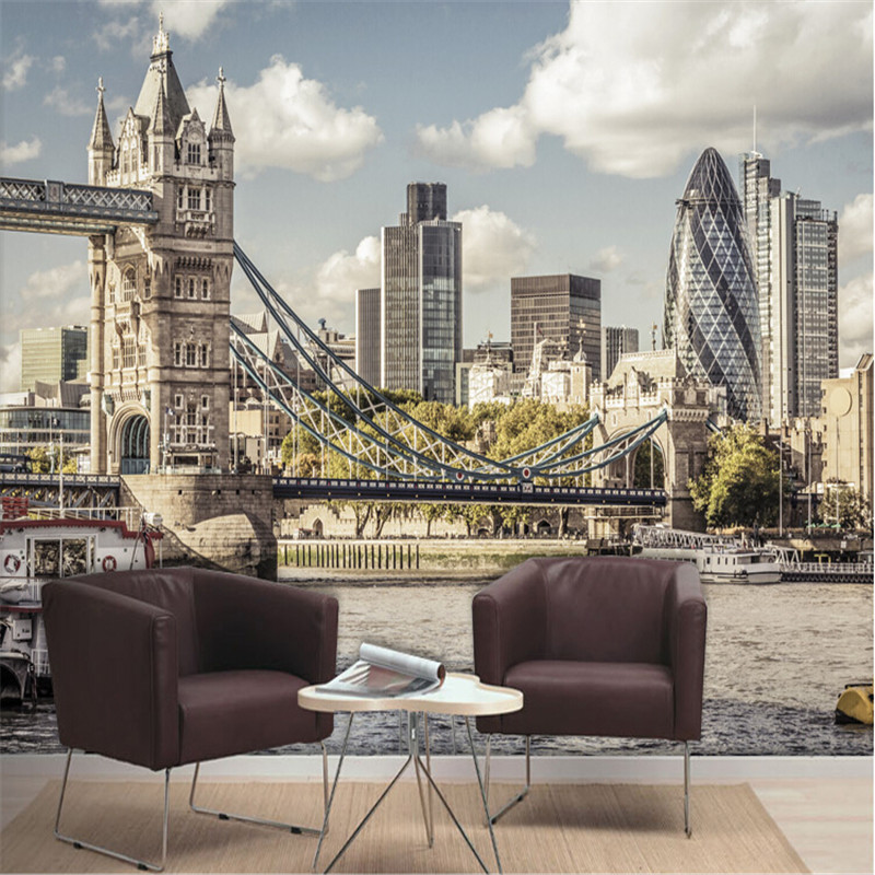 Custom photo wallpaper City River Thames in London  landscape study bedroom living room TV background wall mural wall paper spring abundant flowers rich large mural wallpaper living room bedroom wallpaper painting tv background wall 3d wallpaper