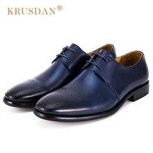 Krusdan Новый дышащий человек Представительская обувь классические Пояса из натуральной кожи ручной работы Обувь шнурованная круглый носок Кружево до Для мужчин партии Туфли без каблуков
