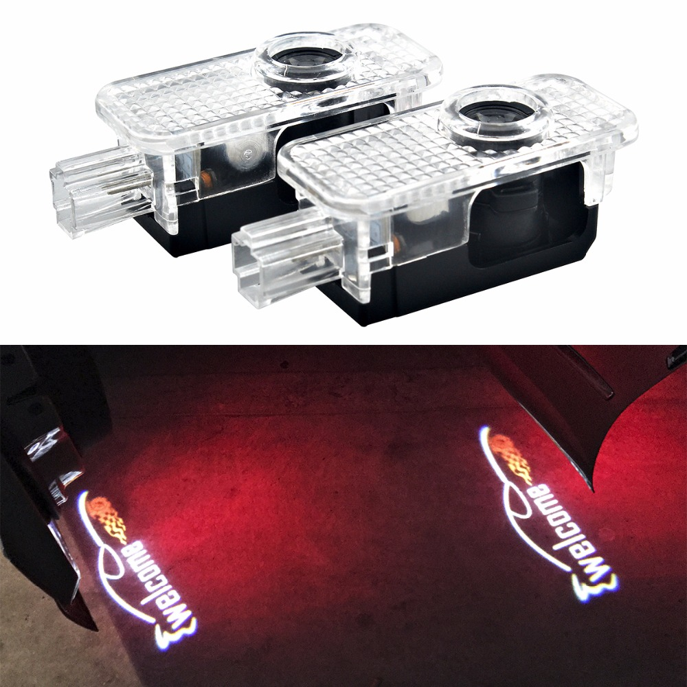 2pcs LED Car Door Laser Welcome Logo Lights Auto Emblem Lamp Replacement Accessory for Cadillac SRX XTS SXT ATS CTS 2pcs projector laser auto open door welcome step logo led lights for ford blue mustang 50 years 5139