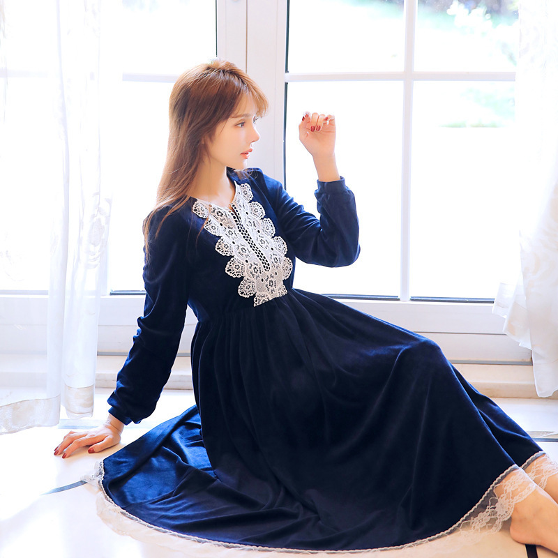 2018 Blue Red Winter New Warm Women s Nightgown Loose Velvet Long Sleeve Sleep Dress Royal