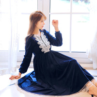 2018 Blue.Red Winter New Warm Women's Nightgown Loose Velvet Long Sleeve Sleep Dress Royal Sleepwear Princess Victorian Palace