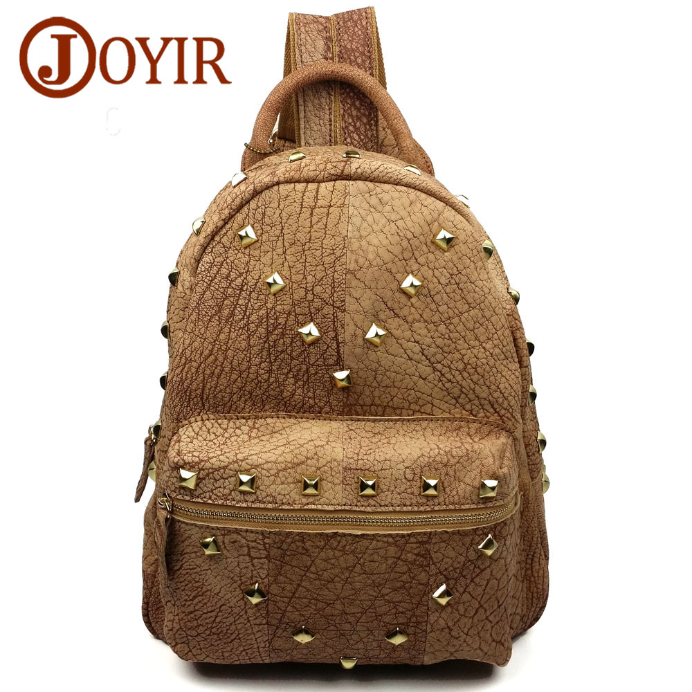 JOYIR New cowhide genuine leather women backpack rivet preppy style school bag shopping travel bag for girl ladies woman bag1041 kai yunon women sparrow drawstring beam port backpack shopping bag travel bag aug 24