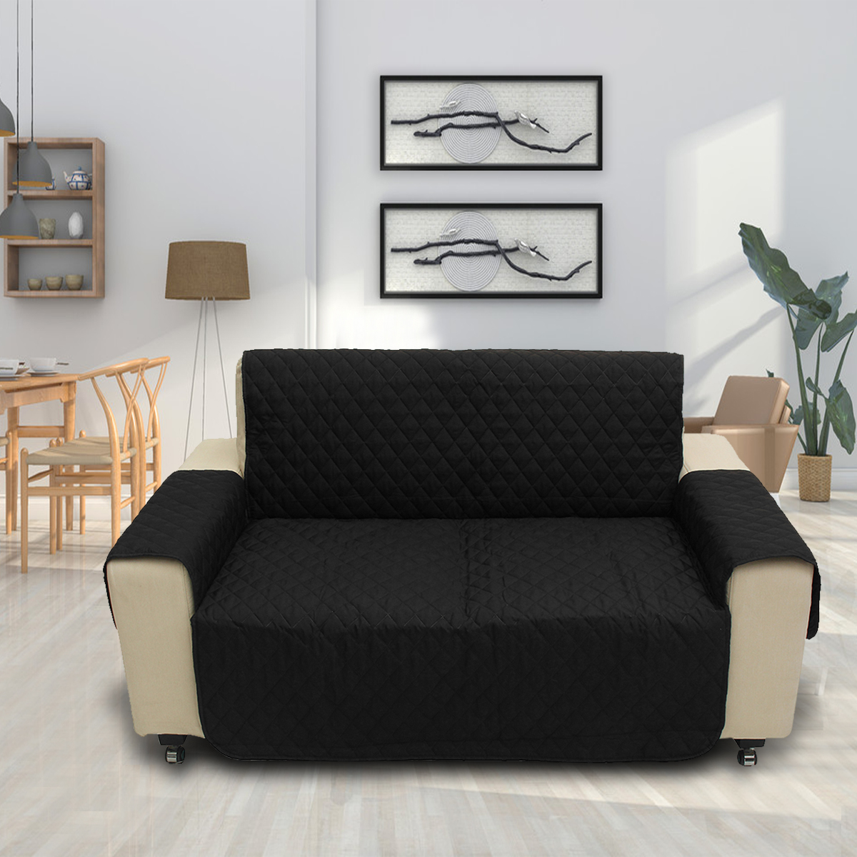 Black Pet Sofa Couch Furniture Protective Cover Removable W/Strap Waterproof 2 Seat