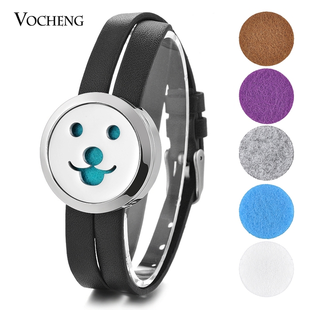 Aromatherapy Essential Oil Diffuser Locket Bracelet Stainless Steel Double Leather Magnet Open Send 5pcs Oil Pads as Gift VA-604