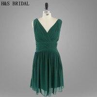 Prawdziwe Model Zbiornika krótka V Szyi i Plecach Plisowana dark green szyfonu krótki druhna dress 2015