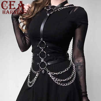 CEA.HARNESS Wholesale Vitorian Gothic Leather Garter Belts With Sexy Lingerie Chain Harajuku Body Suspenders Women Harness Belt - DISCOUNT ITEM  55% OFF All Category