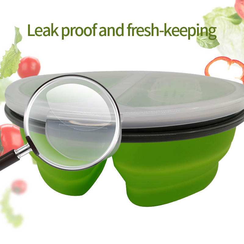 Silicone Collapsible Bento Lunch Box 2 Cells Seal Portable Storage Bowl For Fruits Folding Bento Lunchbox For Kids Outdoor in Lunch Boxes from Home Garden