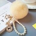 Decoración de la perla 8 cm pelota pompón de piel de conejo rex llaveros novedad trinket llavero holder for women bag & car Fo-K030-beige