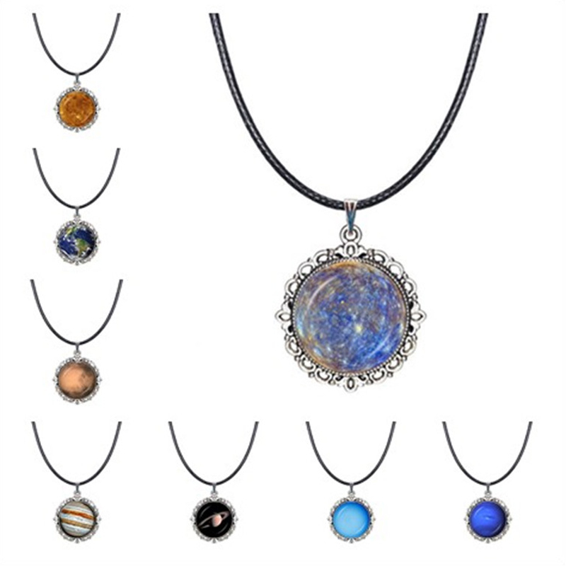 Space Jewelry 8 Planet of Solar System Necklace Universe Choker Necklace Astronomy Pendant Earth,Mars,Jupiter,Uranus,Neptune ...