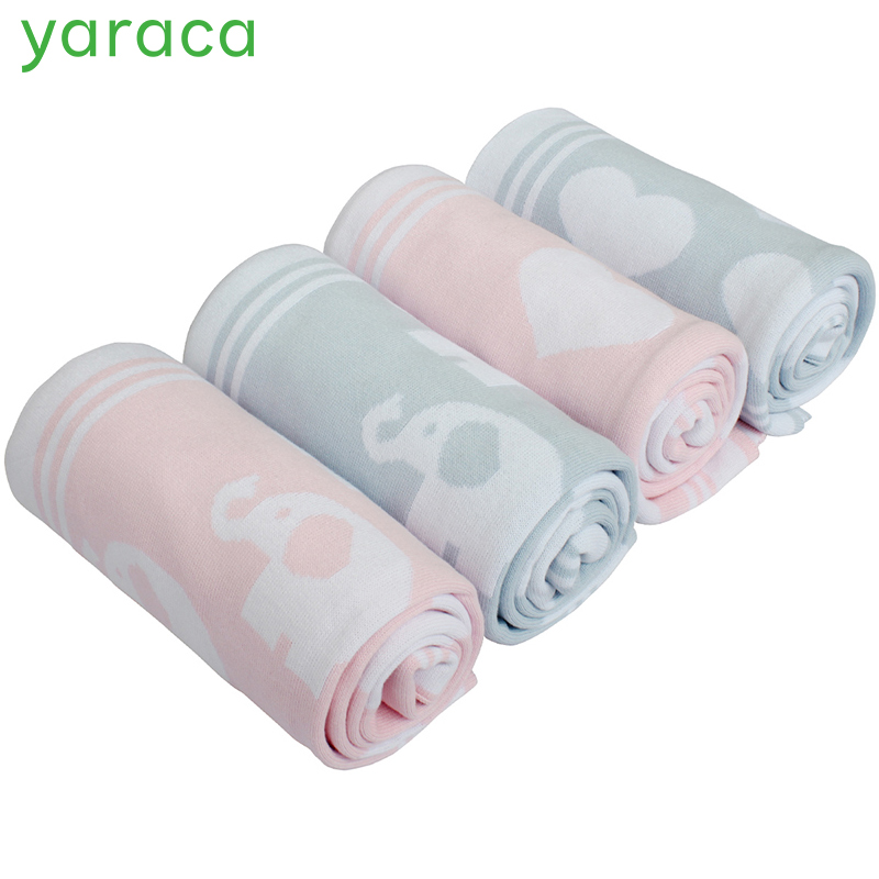 Cotton Knitted Baby Blanket with Rattle Toy Love Elephant Pattern Breathable Stroller Blanket Soft Crib Bedding For Baby chic quality casual style solid color cotton pattern knitted blanket