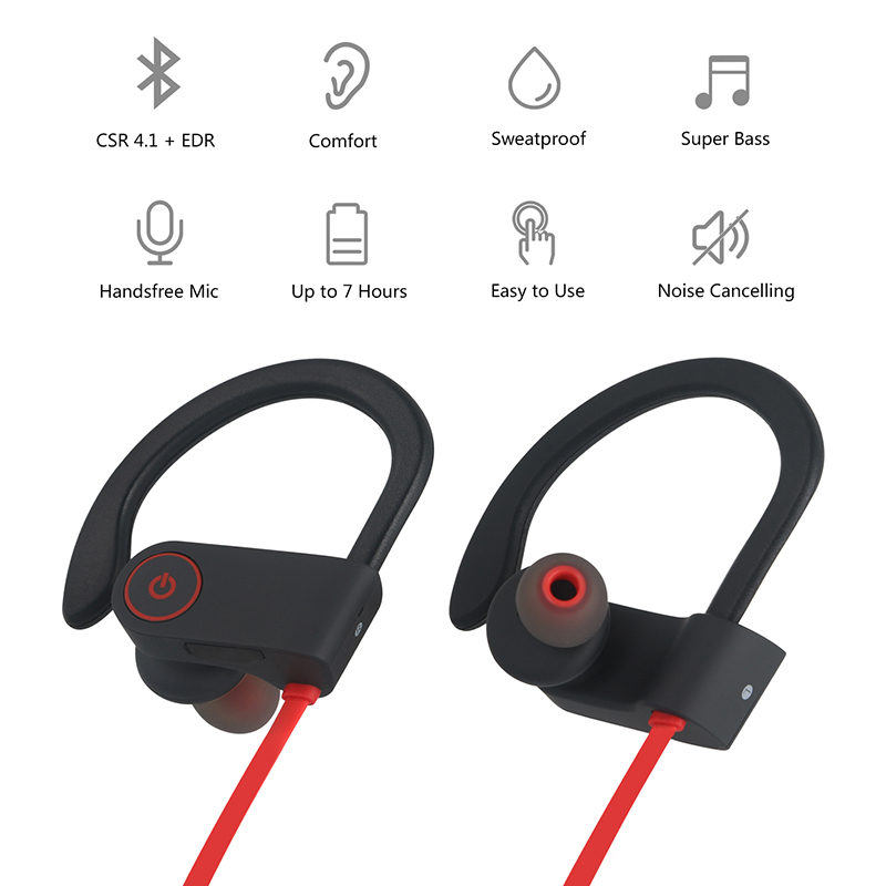 NiUB5 U8 Bluetooth 4.1 Sport Earphone Handfree Wireless Bluetooth Headset Earphones with Mic Sports Ear-hook Bluetooth Earphone