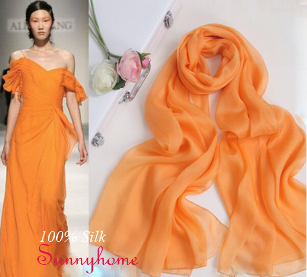 fashion hijab arabic female font b tartan b font scarf pashmina com coelho Orange yellow Silk