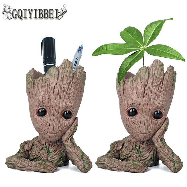 GQIYIBBEI Drop Shipping Flowerpot Baby Action Figures Cute Model Toy Pen Pot holder PVC Hero Model Vessel Avengers: Infinity War