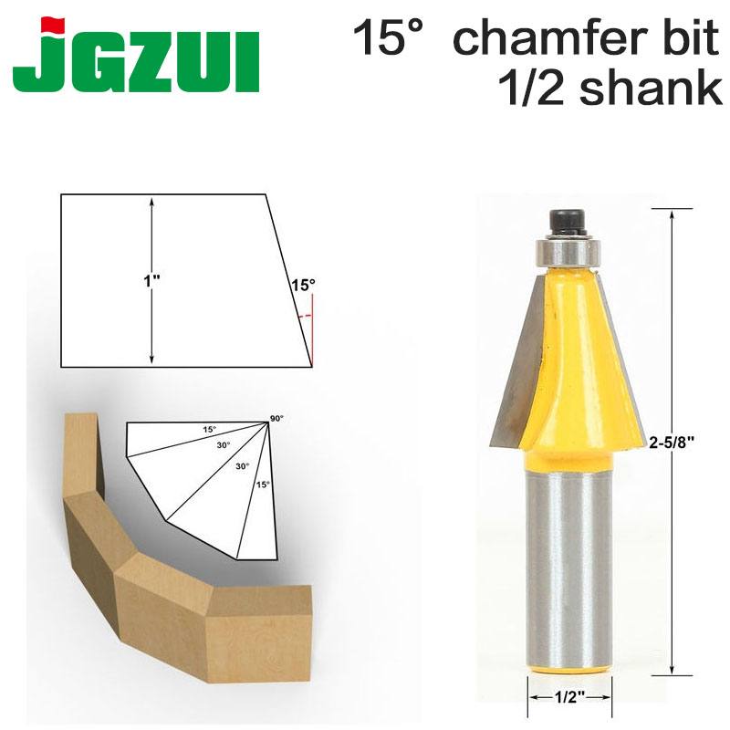 "1pc 15 Degree Chamfer & Bevel Edging Router Bit - 1/2"" Shank - Woodworking Cutter Woodworking Bits"