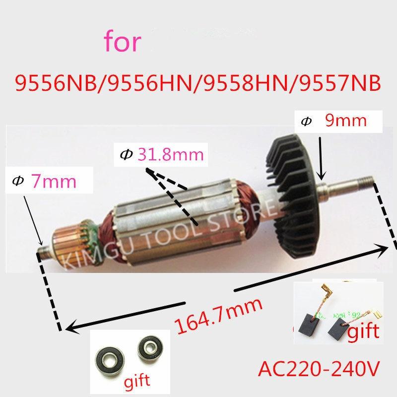 AC220-240V Armature Rotor For MAKITA 515613-9 518870-8 510107-9 9558NB 9556NB 9556HN 9558HN 9557NB 9557HN 9556HNG 9558NBR