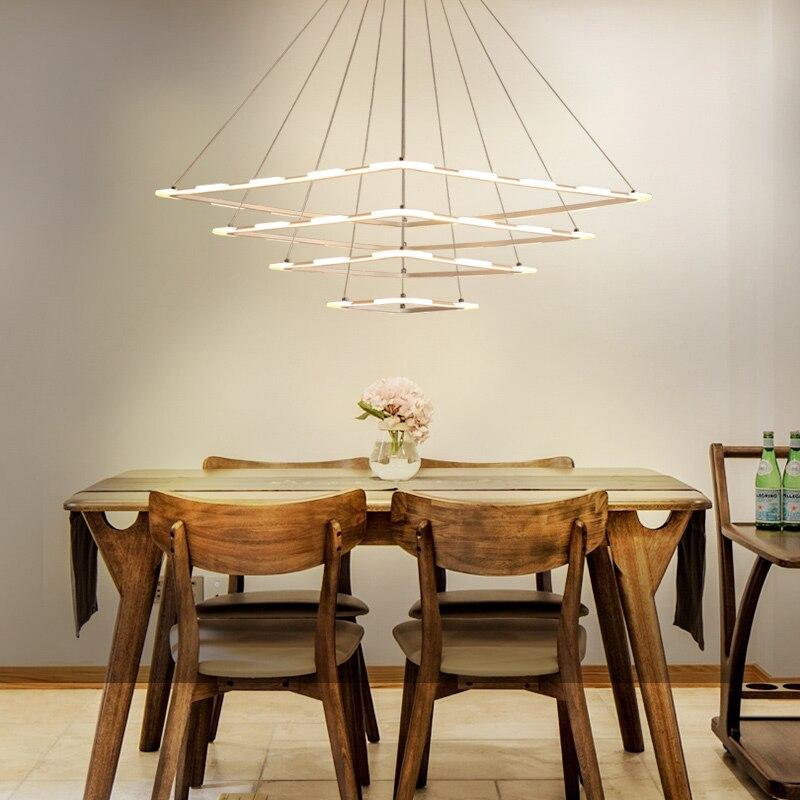 цены Modern wrought-iron acrylic LED hanging chandeliers indoor lighting home decoration lamparas de techo colgante moderna