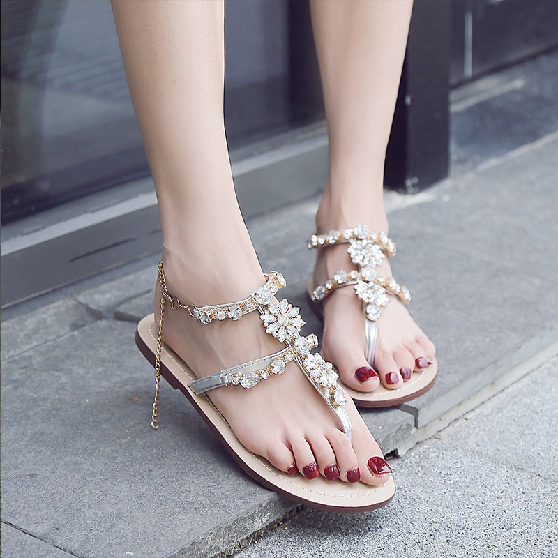 2814c7a97bf211 XingDeng Ladies Party Colorful Chain Summer Sexy Sandal Shoes 36 43 Size Women  Bohemia Crystal Stone T Strap Flat Sandals Shoes-in Women s Sandals from ...