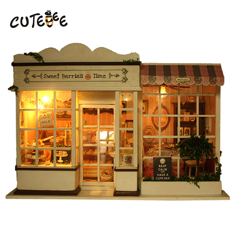 CUTEBEE Doll House Miniature DIY Dollhouse With Furnitures Wooden House Sweet Berries Time Toys For Children Birthday Gif  A-008 cutebee new house wooden pretend play