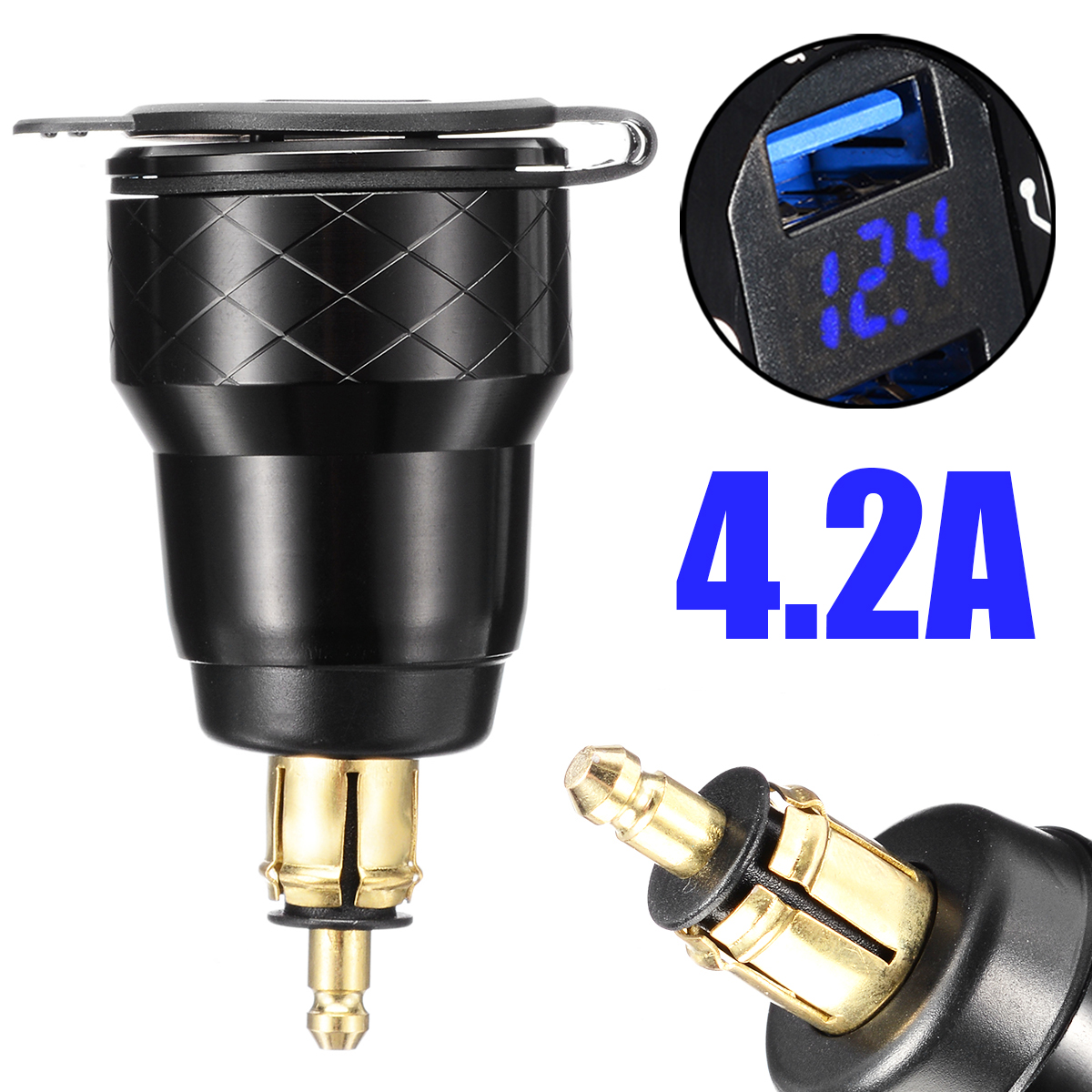 For <font><b>BMW</b></font> 1pc 4.2A Motorcycle DIN Socket Dual <font><b>USB</b></font> <font><b>Charger</b></font> Phone GPS Support F800 F650 F700 R1200 GS EU Plug image