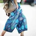 Women Polka Dot Calf-length wide Leg Pants Ladies Denim Dot Hole Fashion Loose Pants Bleached Trousers Washed Jeans