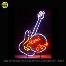 NEON ZNAK Dla Hard Rock Guitar Szklana Rurka Muzyki Ręcznie Metalowe Ramki Grafika Wielkie Dary Lampka nocna Super Niestandardowy Reklamować