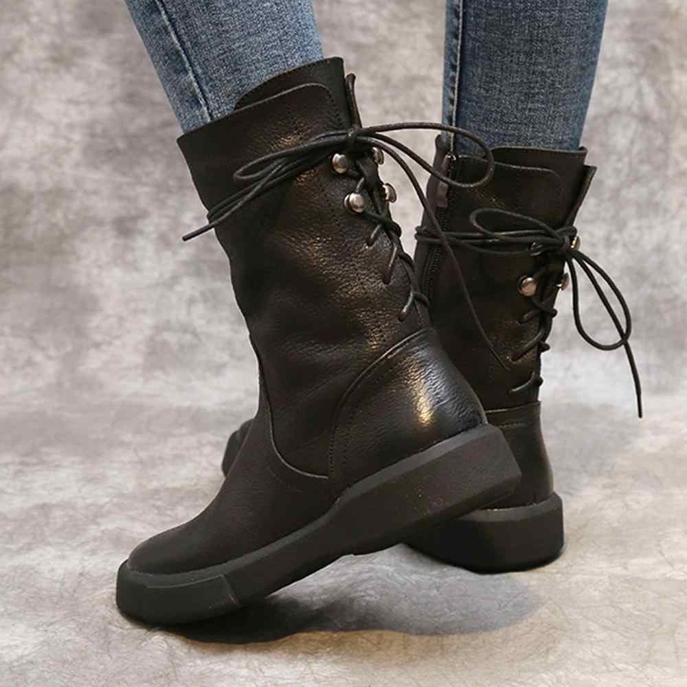 Schnee Echtes Kuh Leder Schwarz Stiefel Schuhe Vintage Lace-up Schuhe Verdicken Plüsch Winter Schwarz Braun Pelz Warme Schuhe frau 2019