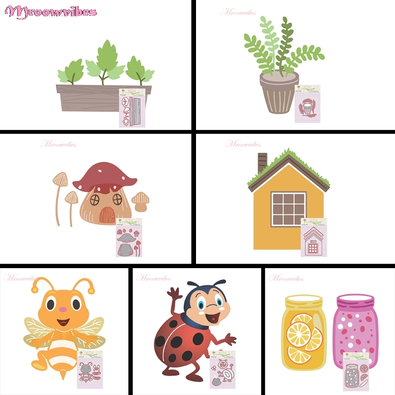 House Wishing Bottle Ladybug Honeybee Cutting Dies Stencils Scrapbook Album Paper Card Embossing DIY Craft animal Nov