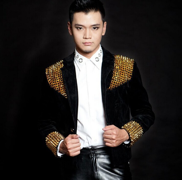 Men New style fashion black red male singer DJ slim gentleman party dj ds costume rivets blazer dancing jazz jacket men