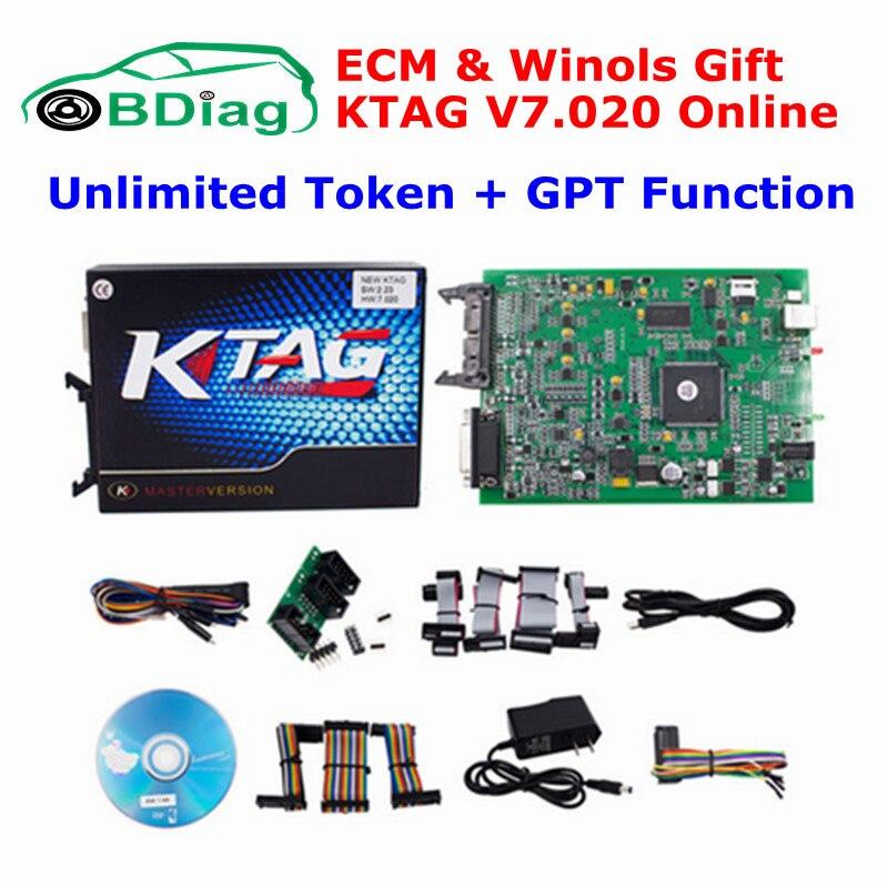 imágenes para Ilimitado V7.020 V2.23 Operan En Línea Añadir 160 + Protocolos KTAG K TAG SW 2.23 FW 7.020 Truck Car Tuning K-TAG ECU herramienta de Programación Herramienta