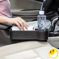 Storage Box Car Organizer Seat PU Leather Case Pocket Car Seat Side Slit for Wallet Phone Coins Keys Cards Cups