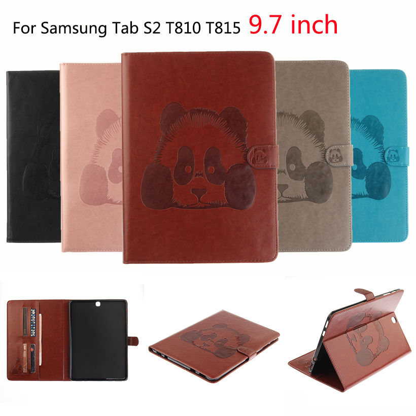 Tab S2 9.7 inch Case Panda Pattern PU Leather Cover For Samsung Galaxy Tab S2 9.7 T810 T ...