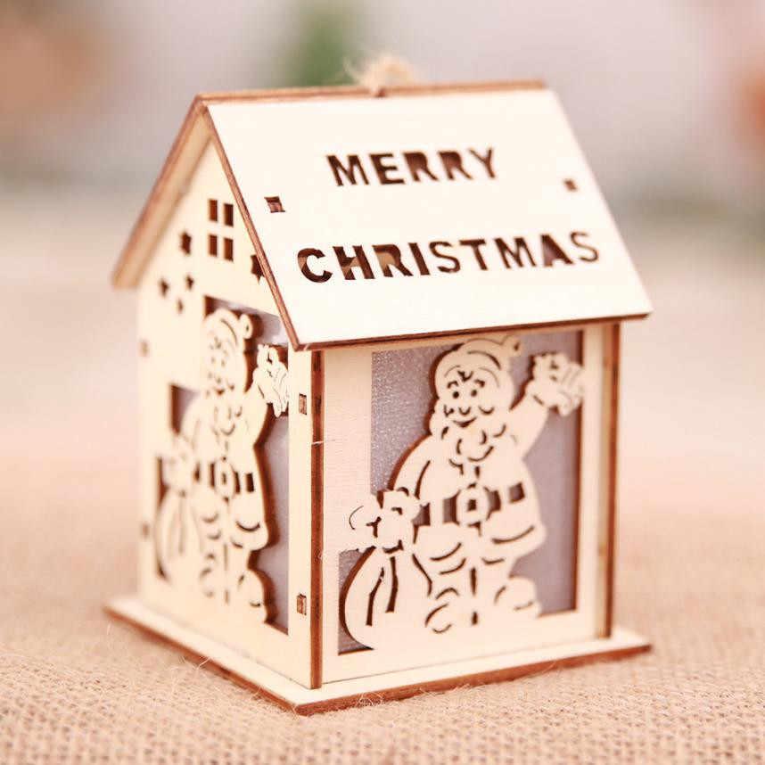 Đồ Trang Trí giáng sinh LED Ánh Sáng Chalet Giáng Sinh Cây Trang Trí Mặt Dây Chuyền Đồ Trang Trí Giáng Sinh Năm Mới Chủ Sở Hữu Trang Trí Nguồn Cung Cấp