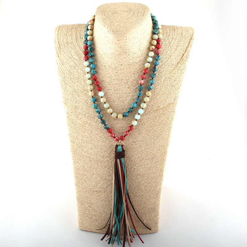 Fashion Bohemian Tribal Jewelry 108pc Stone Beads Knotted Multi Long Tassel Necklace Women Ethnic Necklace