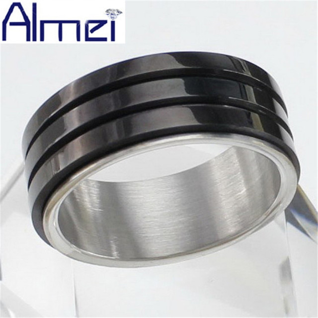 Almei Ring Stainless Steel for Men Fashion Black Cool Male Cheap Jewelry Size 8/9/10/11 For Party Gift Big Anel Masculino Sale