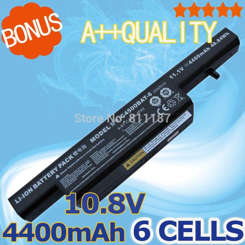 6 Zellen 4400 mAh Laptop akku für Clevo C4500 C4501 C4505 C4500Q W150 C4500BAT-6 6-87-C480S-4P4 C4500BAT 6 KB15030 W150ER