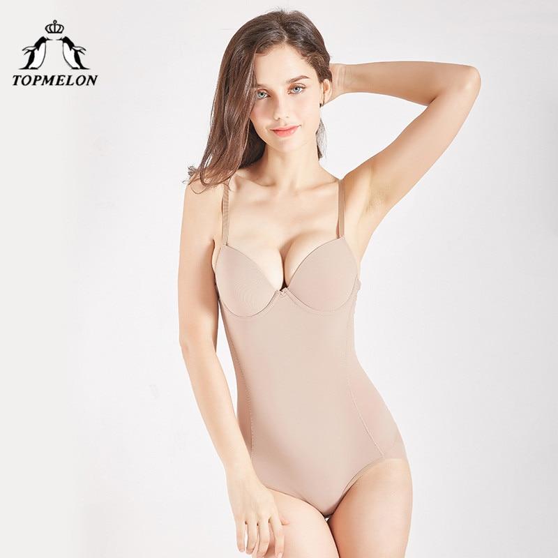 TOPMELON Shapewear Women One Piece Bodysuit Plus Size Black Beige Seamless Underwear Slimming Bodysuits