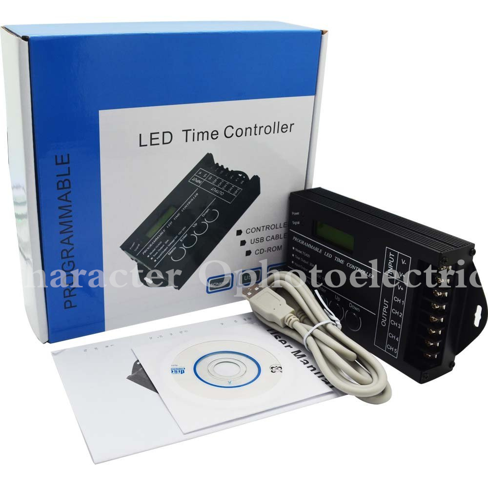 TC420 Time programmable RGB LED Controller DC12V-24V 5Channel LED Timing dimmer Total Output 20A Common Anode with USB Wire