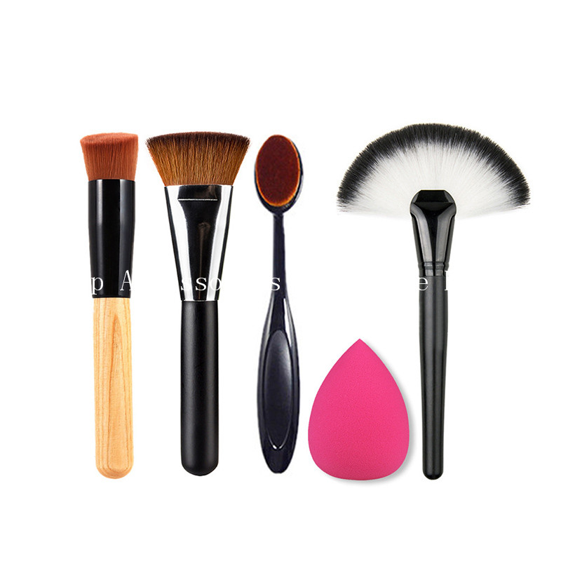 New Make Up Set 5PCS  Makeup Brushes+Powder Blush Foundation Brush+Sponge Puff + Contour Brush For Women Necessary Cosmetic 24pcs makeup brushes set cosmetic make up tools set fan foundation powder brush eyeliner brushes leather case with pink puff