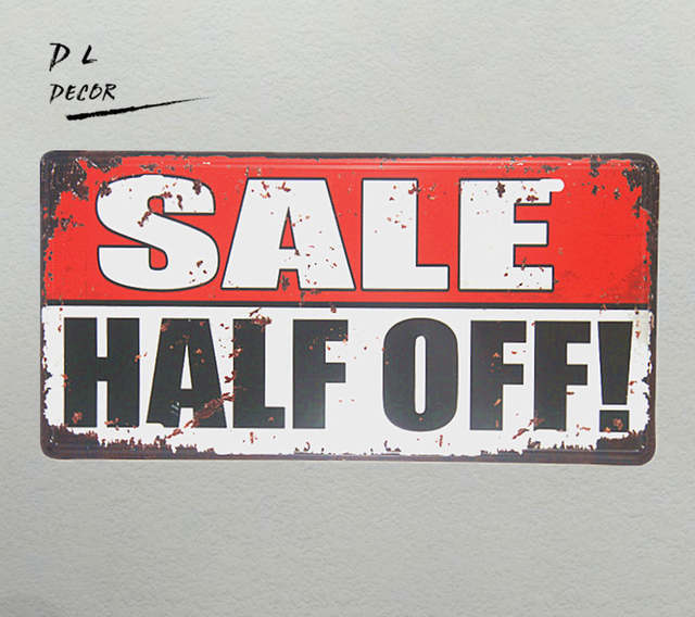 Vintage Signs For Sale >> Us 6 43 8 Off Dl Sale Half Off License Plate Metal Signs Vintage Retro Shabby Chic Poster Home Decoration Accessories In Plaques Signs From Home
