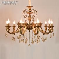 10 Heads Brass Chandelier Light Fixture Antique Brass Pendant Vintage Copper Crystal Lamp Lustres Lighting 100% Guaranteed