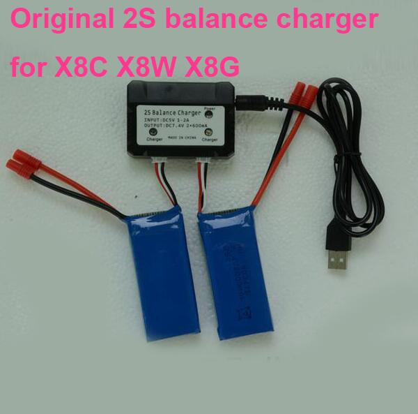 Original SYMA X8C X8W X8G Charger 2 IN 1 2S balance charger 3pin quick charger for lipo battery USB interface charger thunder 0620 balance lipo charger 20a 2 6s 300w multifunctional intelligent balance charger usb pc link charger free shipping